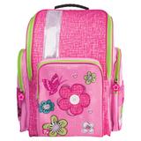 Ранец жесткокаркасный BRAUBERG (БРАУБЕРГ) для учениц начальной школы, 17 л, розовый, «Цветы и бабочка», 36×26×14 см