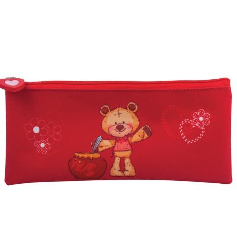 Пенал-косметичка BRAUBERG (БРАУБЕРГ) для учениц начальной школы, красный, «Мишка», 21×10 см