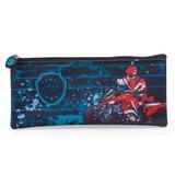Пенал-косметичка BRAUBERG (БРАУБЕРГ) для учеников начальной школы, сине-черный, «Квадроциклист», 21×10 см