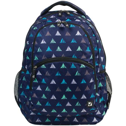 Рюкзак BRAUBERG, универсальный, сити-формат, синий, «Треугольники», 30 литров, 45×32×18 см