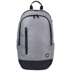 Рюкзак BRAUBERG, универсальный, сити-формат, серый, с черной молнией, 28 литров, 50×31×20 см