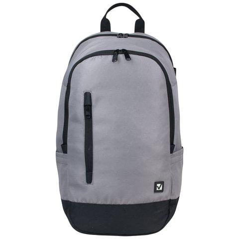 Рюкзак BRAUBERG (БРАУБЕРГ), универсальный, сити-формат, серый, с черной молнией, 28 литров, 50×31×20 см
