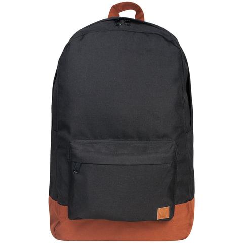 Рюкзак BRAUBERG (БРАУБЕРГ), универсальный, сити-формат, черный, «с коричневым дном», 18 литров, 33×26×10 см