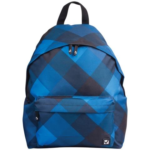 Рюкзак BRAUBERG (БРАУБЕРГ), универсальный, сити-формат, синий, «Клетка», 20 литров, 41×32×14 см