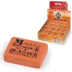 Резинка стирательная KOH-I-NOOR «Mondeluz», прямоугольная, 26×18,5×8 мм, оранжевая, картонный дисплей
