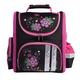 Ранец жесткокаркасный BRAUBERG (БРАУБЕРГ) для учениц начальной школы, 16 л, черно-розовый, «Цветы», 28×14×32 см