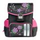 Ранец жесткокаркасный BRAUBERG (БРАУБЕРГ) для учениц начальной школы, 20 л, черно-розовый, «Цветы», 35×27×16 см
