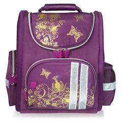Ранец жесткокаркасный BRAUBERG, для учениц начальной школы, «Цветы», фиолетовый, 16 литров, 28×14×32 см