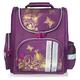 Ранец жесткокаркасный BRAUBERG (БРАУБЕРГ) для учениц начальной школы, 16 л, фиолетово/<wbr/>золотой, «Цветы», 28×14×32 см