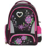 Рюкзак BRAUBERG (БРАУБЕРГ) для учениц начальной школы, 24 л, черный, «Цветы», 42×28×15 см