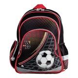 Рюкзак BRAUBERG (БРАУБЕРГ) для учеников начальной школы, 24 л, черный/<wbr/>красный/<wbr/>желтый, «Футбол», 42×28×15 см
