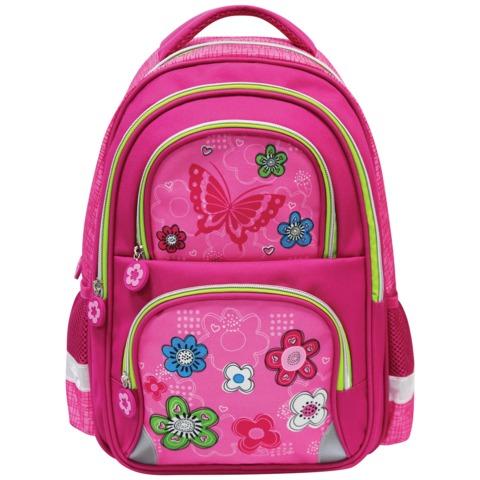 Рюкзак BRAUBERG (БРАУБЕРГ), с EVA спинкой, для учениц начальной школы, «Розовые цветы», 20 литров, 38×30×14 см