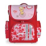 Ранец жесткокаркасный раскладной BRAUBERG (БРАУБЕРГ) для учениц начальной школы, 20 л, розово-красный, «Мишка», 37×29×17 см