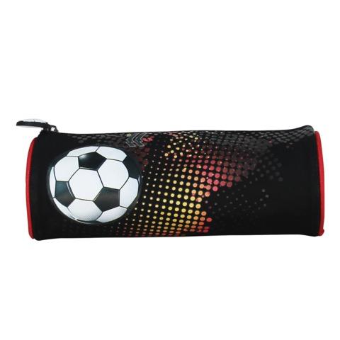 Пенал-косметичка BRAUBERG (БРАУБЕРГ) для учеников начальной школы, черно-красный, «Футбол», 21×7×7 см