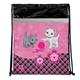 Сумка для обуви BRAUBERG (БРАУБЕРГ) для учениц начальной школы, плотная, розовая/<wbr/>черная, котята, 45×35 см