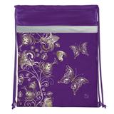 Сумка для обуви BRAUBERG (БРАУБЕРГ) для учениц начальной школы, плотная, фиолетовая/<wbr/>золотая, цветы, 45×35 см