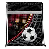 Сумка для обуви BRAUBERG (БРАУБЕРГ) для учеников начальной школы, плотная, черная/<wbr/>красная/<wbr/>желтая, футбол, 43×35 см