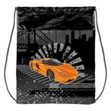 Сумка для обуви ПИФАГОР для учеников начальной школы, серая, оранжевая машина, 42×34 см