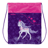 Сумка для обуви ПИФАГОР для учениц начальной школы, розовая/<wbr/>сиреневая, лошадка, 42×34 см