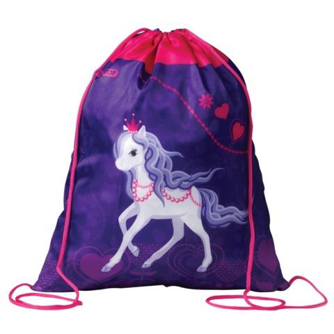Сумка для обуви ПИФАГОР для учениц начальной школы, розовая/<wbr/>сиреневая, «Лошадка», 42×34 см