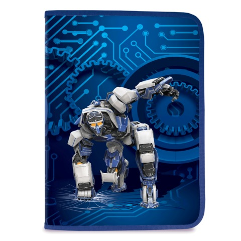 Папка для труда BRAUBERG, А4, пластик, молния вокруг, цветная печать, для мальчиков, синяя, робот