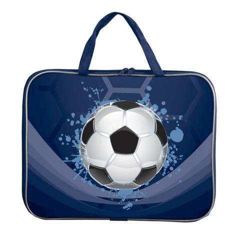 Папка-сумка BRAUBERG PREMIUM (БРАУБЕРГ ПРЕМИУМ), A4, на молнии с ручками, ткань, для мальчиков, мяч, 33×26 см