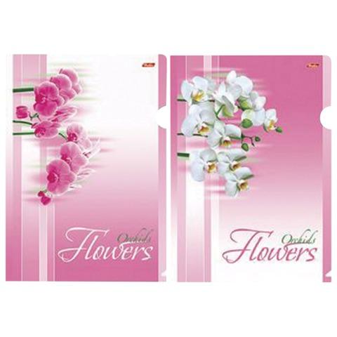 Папка-уголок с рисунком HATBER HD, А4, «Нежные Орхидеи», ассорти, 0,18 мм