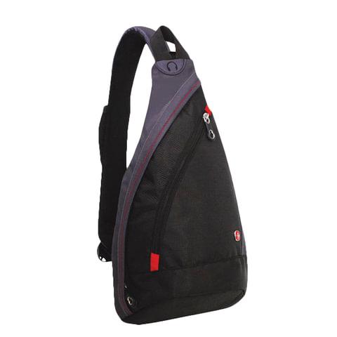 Рюкзак WENGER (Швейцария), универсальный, черно-серый, с одним плечевым ремнем, 7 л, 25х15х45 см