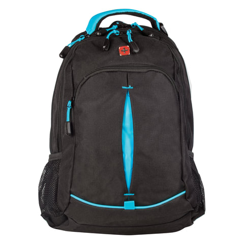 Рюкзак WENGER для старшеклассников/<wbr/>студентов, универсальный, черный, бирюзовые вставки, 32×15×46 см, 22 л