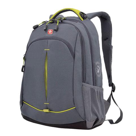 Рюкзак WENGER для старшеклассников/<wbr/>студентов, 22 л, универсальный, серый, желтые вставки, 32×15×46 см