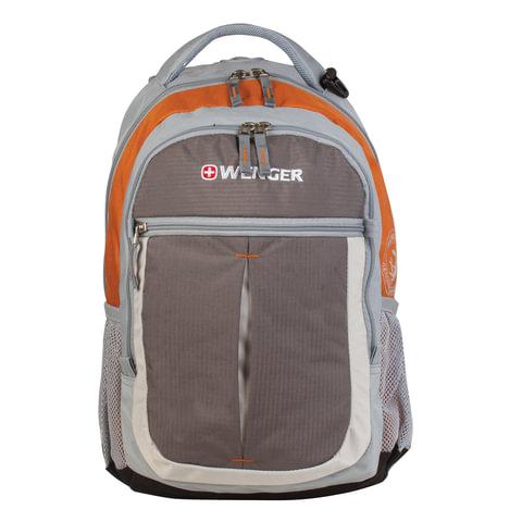Рюкзак WENGER для старшеклассников/студентов, универсальный, серо-оранжевый, 22 литра, 32х15х45 см