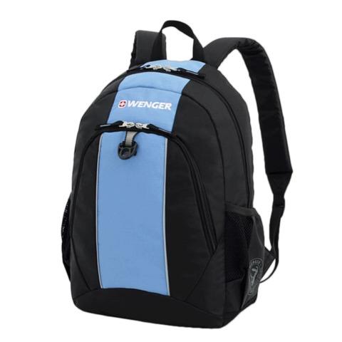 Рюкзак WENGER для старшеклассников/студентов, универсальный, черно-голубой, 20 литров, 32х14х45 см