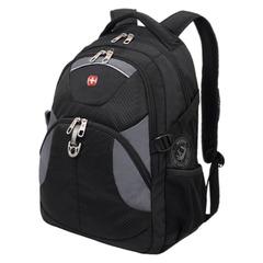 Рюкзак WENGER (Швейцария), универсальный, черный, серые вставки, 20 литра, 34×17×47 см