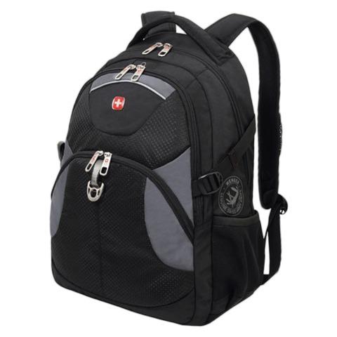 Рюкзак WENGER (Швейцария), универсальный, 26 л, черный, серые вставки, 34×17×47 см