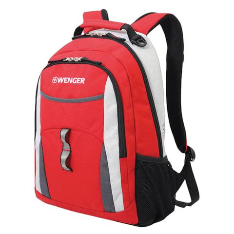 Рюкзак WENGER для старшеклассников/студентов, универсальный, красный, серые и серебристые вставки, 22 л, 32х15х45 см