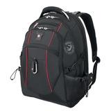 Рюкзак WENGER (Швейцария), универсальный, 38 л, черный, красные вставки, 34×23×48 см
