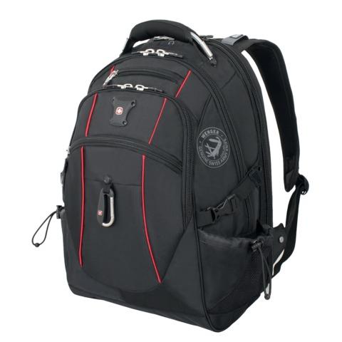 Рюкзак WENGER (Швейцария), универсальный, черный, красные вставки, 38 литров, 34х23х48 см