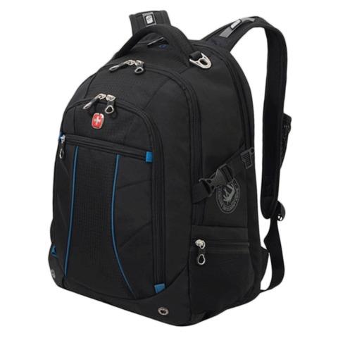 Рюкзак WENGER (Швейцария), универсальный, 32 л, черный, синие вставки, 36×19×47 см, 32 л