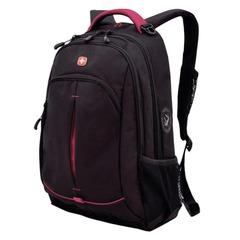Рюкзак WENGER для старшеклассников/<wbr/>студентов, универсальный, черный, розовые вставки, 22 литра, 32×15×46 см