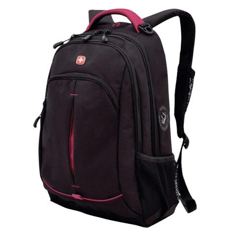 Рюкзак WENGER для старшеклассников/студентов, универсальный, черный, розовые вставки, 22 литра, 32х15х46 см