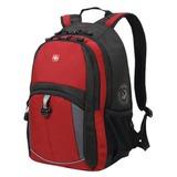 Рюкзак WENGER (Швейцария), универсальный, 22 л, красно-черный, серые вставки, 33×15×45 см