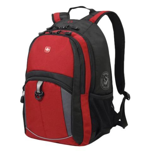 Рюкзак WENGER (Швейцария), универсальный, красно-черный, серые вставки, 22 л, 33х15х45 см