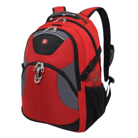 Рюкзак WENGER (Швейцария), универсальный, красно-черный, серые вставки, 26 л, 34х17х47 см