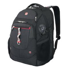 Рюкзак WENGER (Швейцария), универсальный, черный, красные вставки, 34 литра, 34×22×46 см