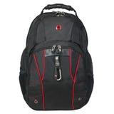 Рюкзак WENGER (Швейцария), универсальный, черный, красные вставки, 29 литров, 34×18×47 см