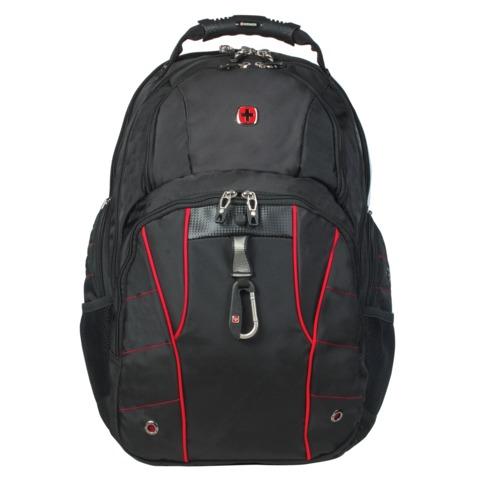 Рюкзак WENGER (Швейцария), универсальный, черный, красные вставки, 29 литров, 34х18х47 см