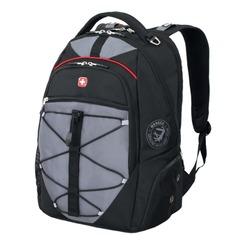 Рюкзак WENGER (Швейцария), универсальный, черно-серый, красные вставки, 30 л, 34×19×46 см