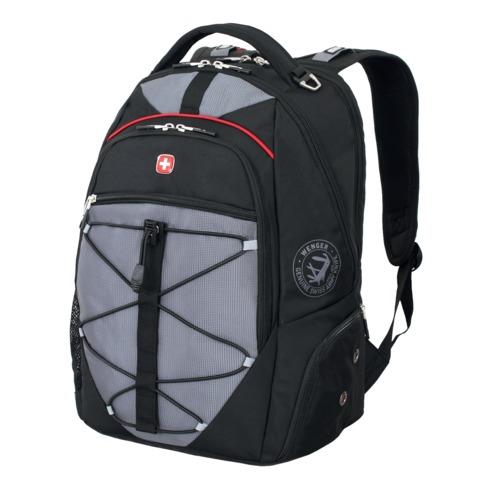 Рюкзак WENGER (Швейцария), универсальный, 30 л, черно-серый, красные вставки, 34×19×46 см