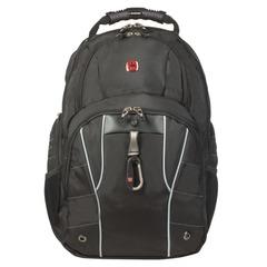 Рюкзак WENGER (Швейцария), универсальный, черный, серебристые вставки, 29 л, 34×18×47 см
