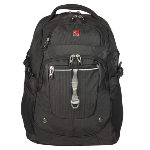 Рюкзак WENGER (Швейцария), универсальный, черный, серебристые вставки, 34 л, 34×22×46 см